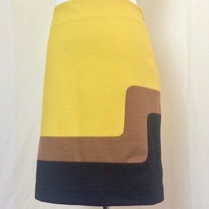 EUC LOFT Mod Color Block Skirt-Mustard/Brown/Blk🖤
